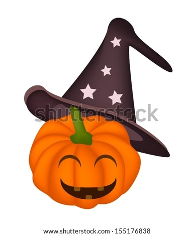 Happy Jack-o-Lantern Pumpkin Wearing A Black Witch Hat Isolated on White Background, For Halloween Celebration  - stock vector