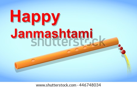 Happy Janmasthami. Easy to edit vector illustration. Flute and light blue background