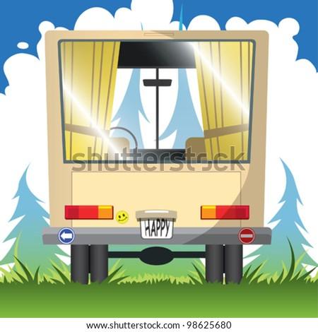 happy journey - stock vector
