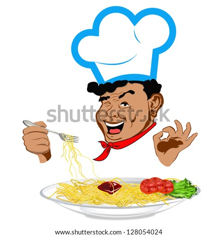 Happy joyful Chef and traditional Italian spaghetti. Vector