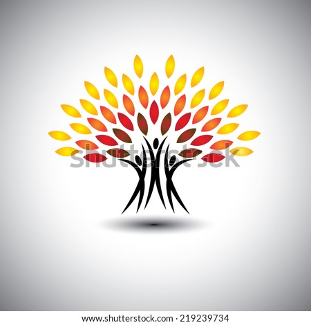 happy, joyous people as trees of life - eco concept vector. This graphic icons also represents harmony, joy, happiness, friendship, education, peace, development, healthy growth, sustainability - stock vector