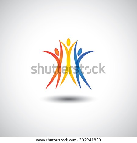 happy, joyous people jumping together - concept vector icon. This graphic also represents harmony, joy, happiness, friendship, education, peace, development, healthy growth, unity, excitement - stock vector