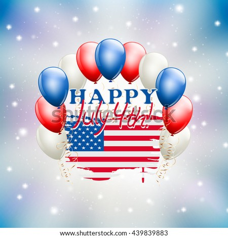 Happy July 4th celebration illustration USA independence day theme. vector