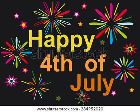 happy july 4th firework background - stock vector