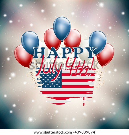 Happy July 4th illustration USA independence day theme. vector