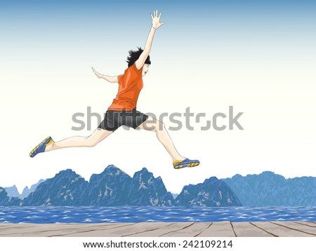 happy jumping - stock vector