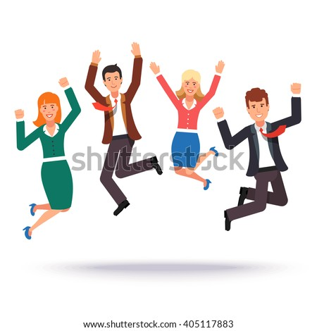 Happy jumping business people celebrating their success. Flat style vector illustration.