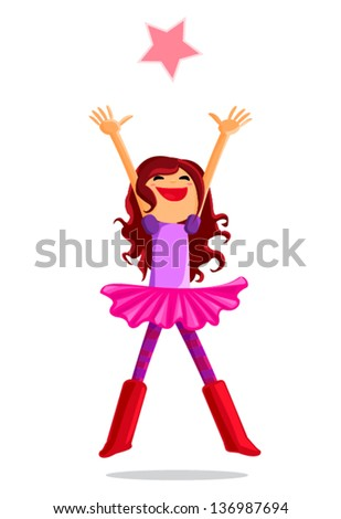 happy jumping girl isolated on white background - stock vector