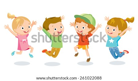 happy jumping kids - stock vector