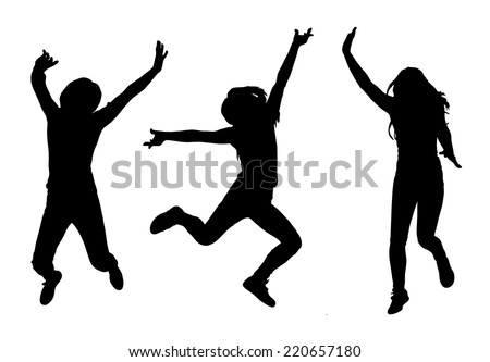Happy jumping woman silhouette collection set. Vector illustration - stock vector