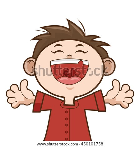 happy kid boy smiling isolated vector illustration - stock vector