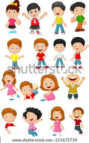 happy kid cartoon collection - stock vector