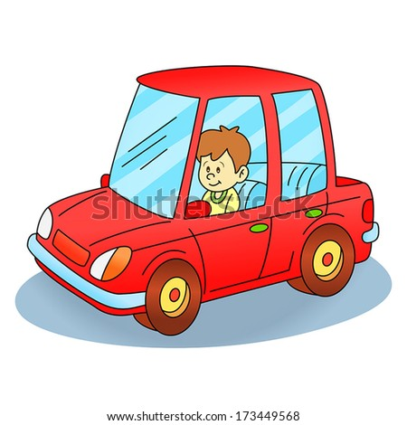 Happy kid driving car