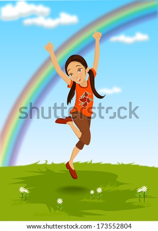 Happy Kid - Illustration - stock vector