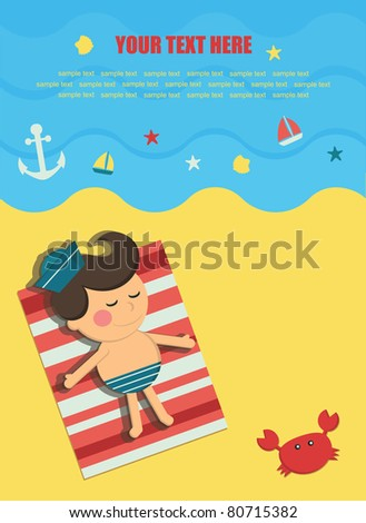 happy kid on seaside. vector illustration - stock vector