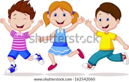 Happy kid running - stock vector