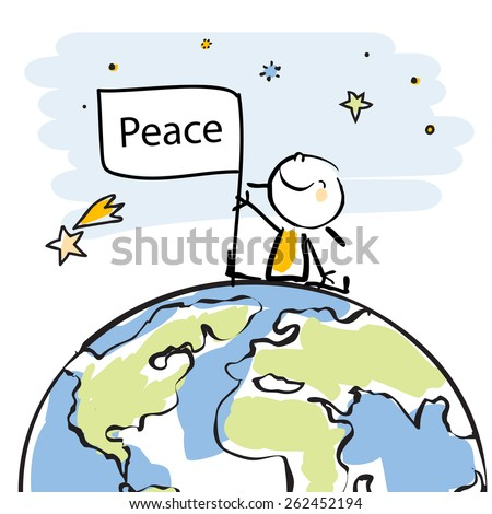 happy kid sitting on top of the globe holding a flag, peace on earth concept in children's drawing style series. Vector line art, doodle style sticky figure. - stock vector