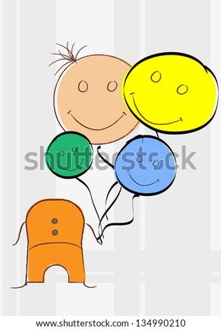 happy kid vector for cartoon design  character - stock vector