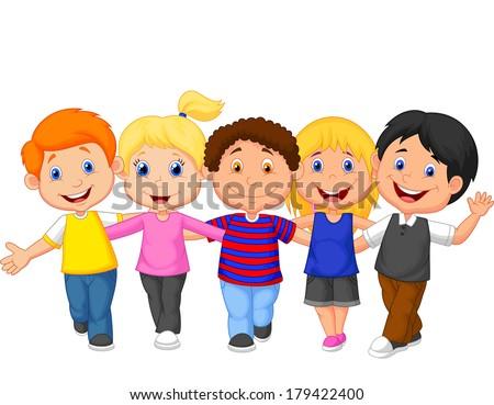 Happy kid walking together - stock vector