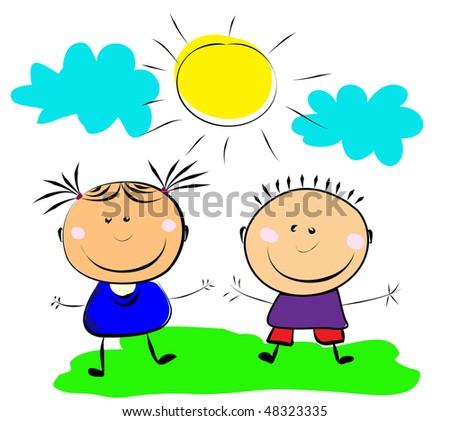 happy kids. - stock vector