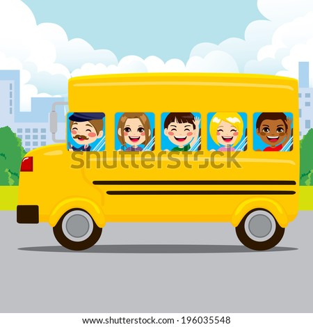 Happy kids and driver riding yellow school bus through city road - stock vector