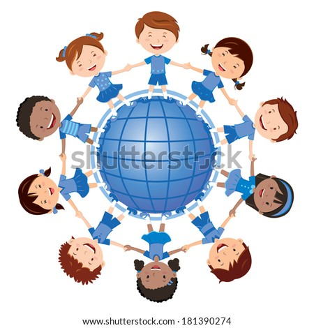 Happy kids and the blue planet. Vector illustration of diverse Children Holding Hands around the blue planet. - stock vector