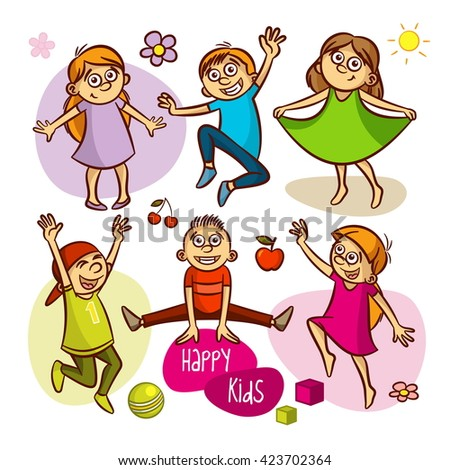 Happy kids. Boys and girls. Vector illustrations - stock vector