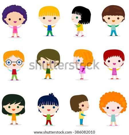 happy kids character set design - stock vector