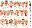 happy kids choir singing seamless vector pattern - stock photo