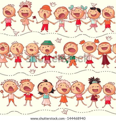 happy kids choir singing seamless vector pattern - stock vector