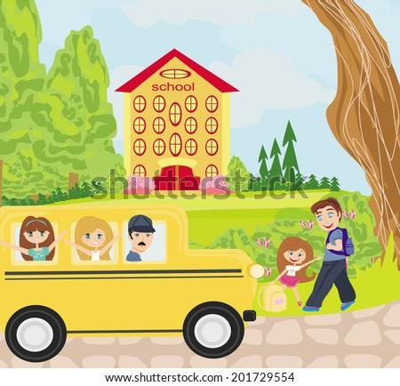 happy kids go to school  - stock vector
