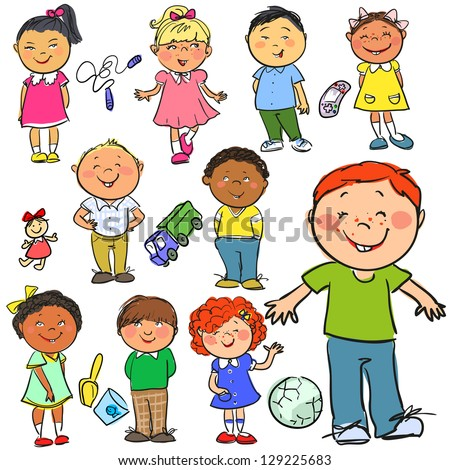 happy kids hand drawn children isolated sketch - Sketch Images For Kids