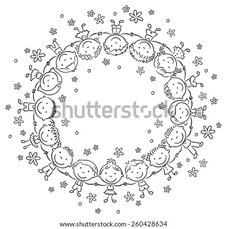 Happy kids in a circle holding hands, black and white - stock vector
