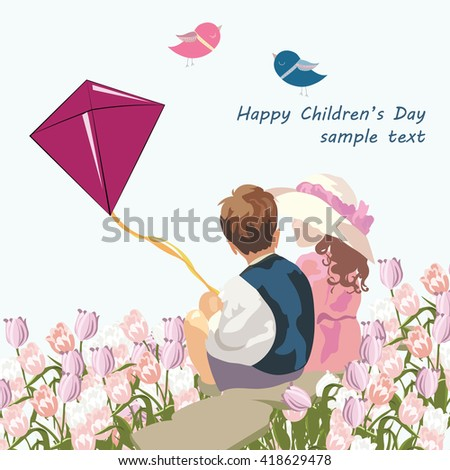 Happy kids in a meadow of tulips. Vintage Illustration of two children playing together. Composition for Children's Day or Friendship Day - stock vector