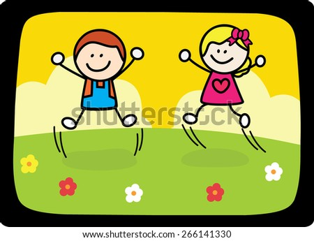 happy kids jumping playing at flower park - stock vector