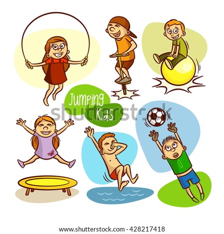 Happy kids. Jumping. Vector illustrations - stock vector