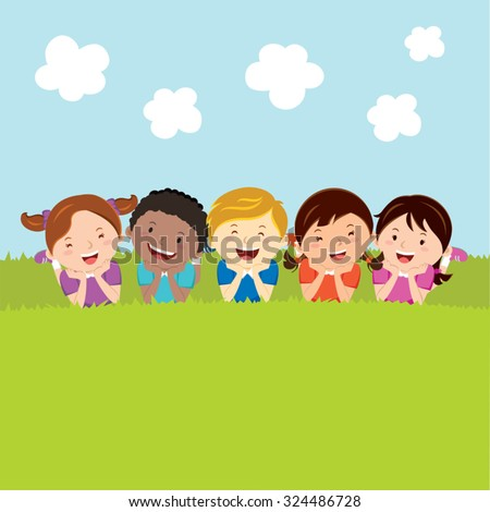 Happy kids lying on the grass. Diverse kids lying on the grass. - stock vector