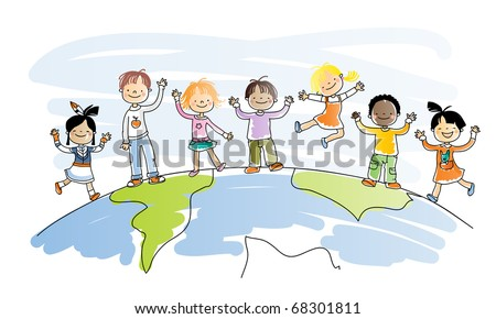 happy kids of different ethnicity on top of the world, watercolor style, grouped and layered for easy editing - stock vector