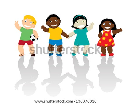 Happy kids of different ethnicity smiling and waving hands. Isolated and grouped over white background - stock vector