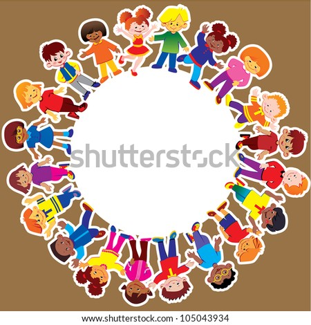 Happy kids of different nationalities play together. Vector art-illustration. - stock vector