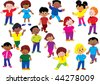 Happy kids of different nationalities play together. Vector art-illustration on a white background. - stock vector