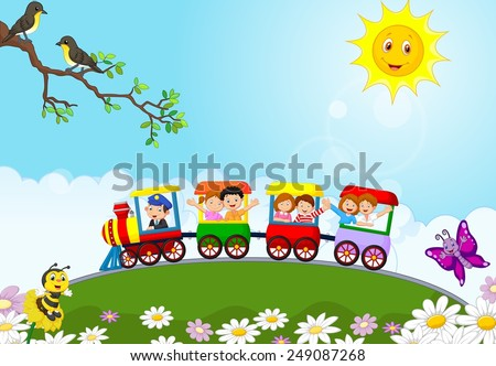 Happy kids on a colorful train - stock vector