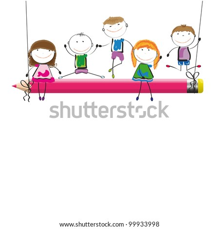 Happy kids on red swing with crayon - stock vector