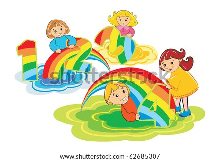 Happy kids play with number 1,2,3,4 made from colorful rainbow