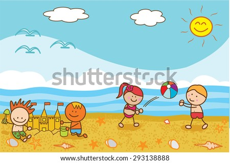 Happy kids playing ball and sand castle at Beach - stock vector