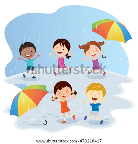 Happy Kids playing in the rain. Vector illustration of diverse Children having fun in the rain.