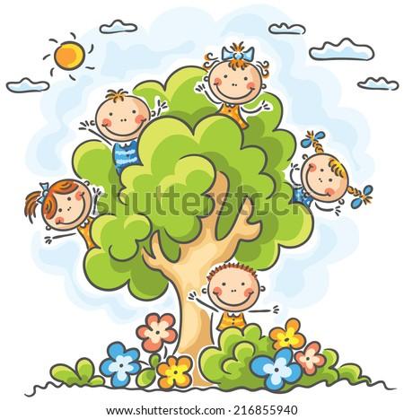 Happy cartoon kids jumping joy on stock vector 248443378 for Jardin katerina
