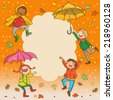Happy Kids playing Kids jumping around placard with umbrella. Autumn background. Great Isolated objects can be use for school children book , advertising , post cards and etc. VECTOR. - stock vector