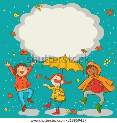 Happy Kids playing Kids jumping around placard with umbrella under the rain. Autumn background. Great Isolated objects can be use for school children book , advertising , post cards and etc. VECTOR.