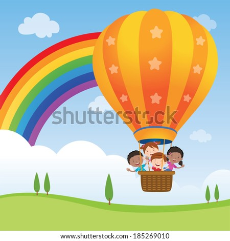 Happy kids riding hot air balloon. Vector illustration of diversity kids riding a hot air balloon. - stock vector